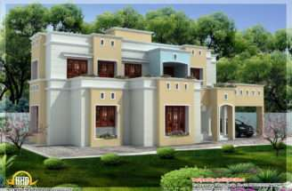 Box Shaped Flat Roof Home Design Kerala Floor Plans