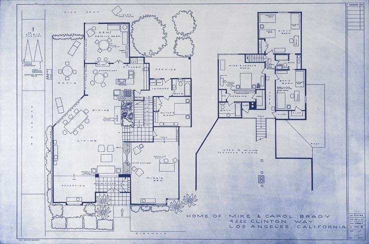 Brady Bunch House Blueprint Mid Century Modern Design