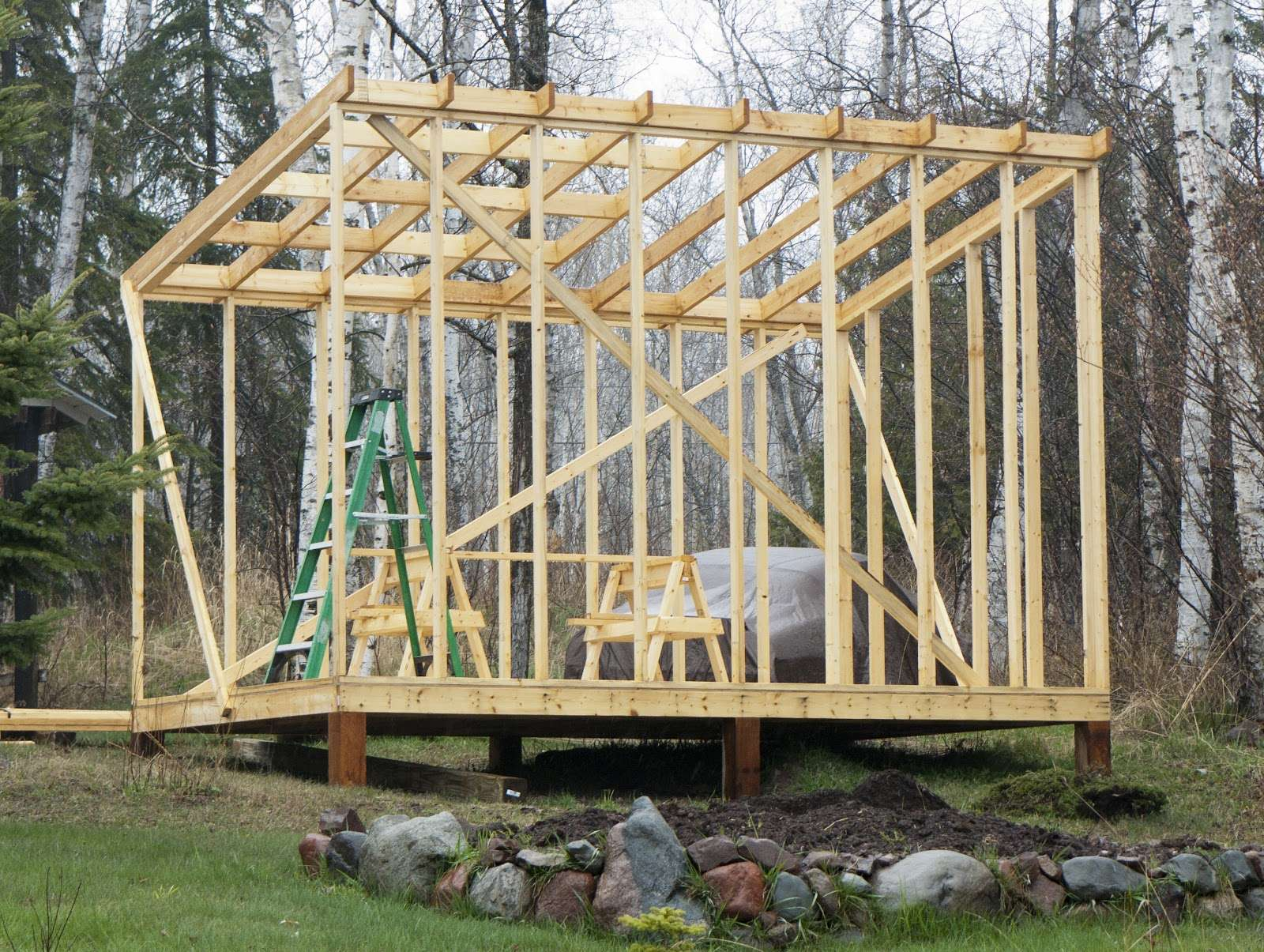 Build Shed Roof Building Rafters
