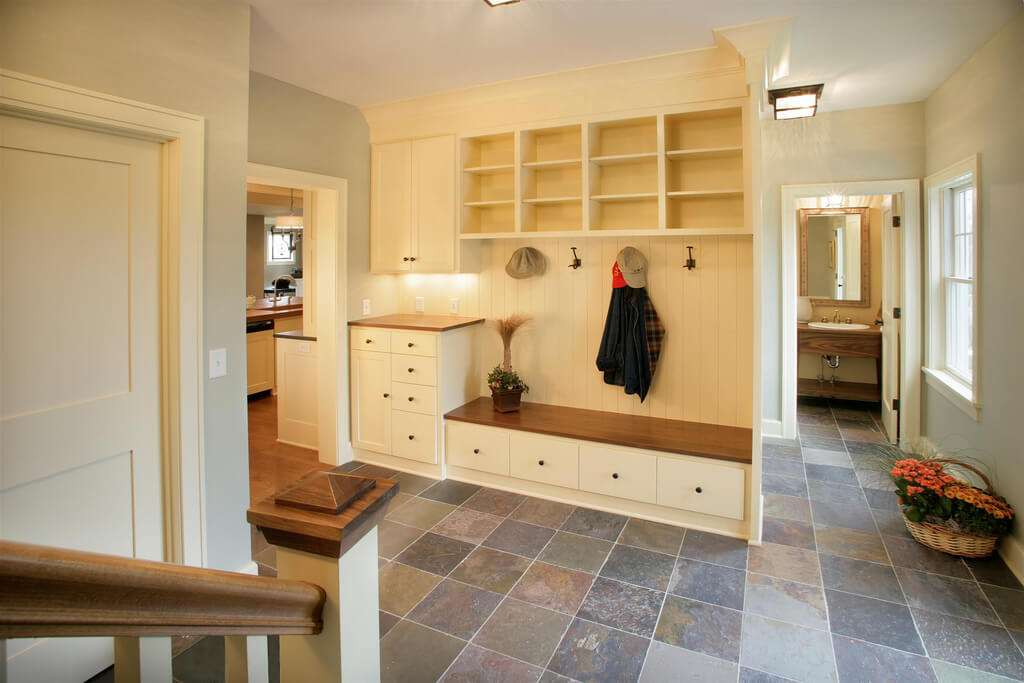 Built Cabinetry Bench Cubby Holes Drawers Under