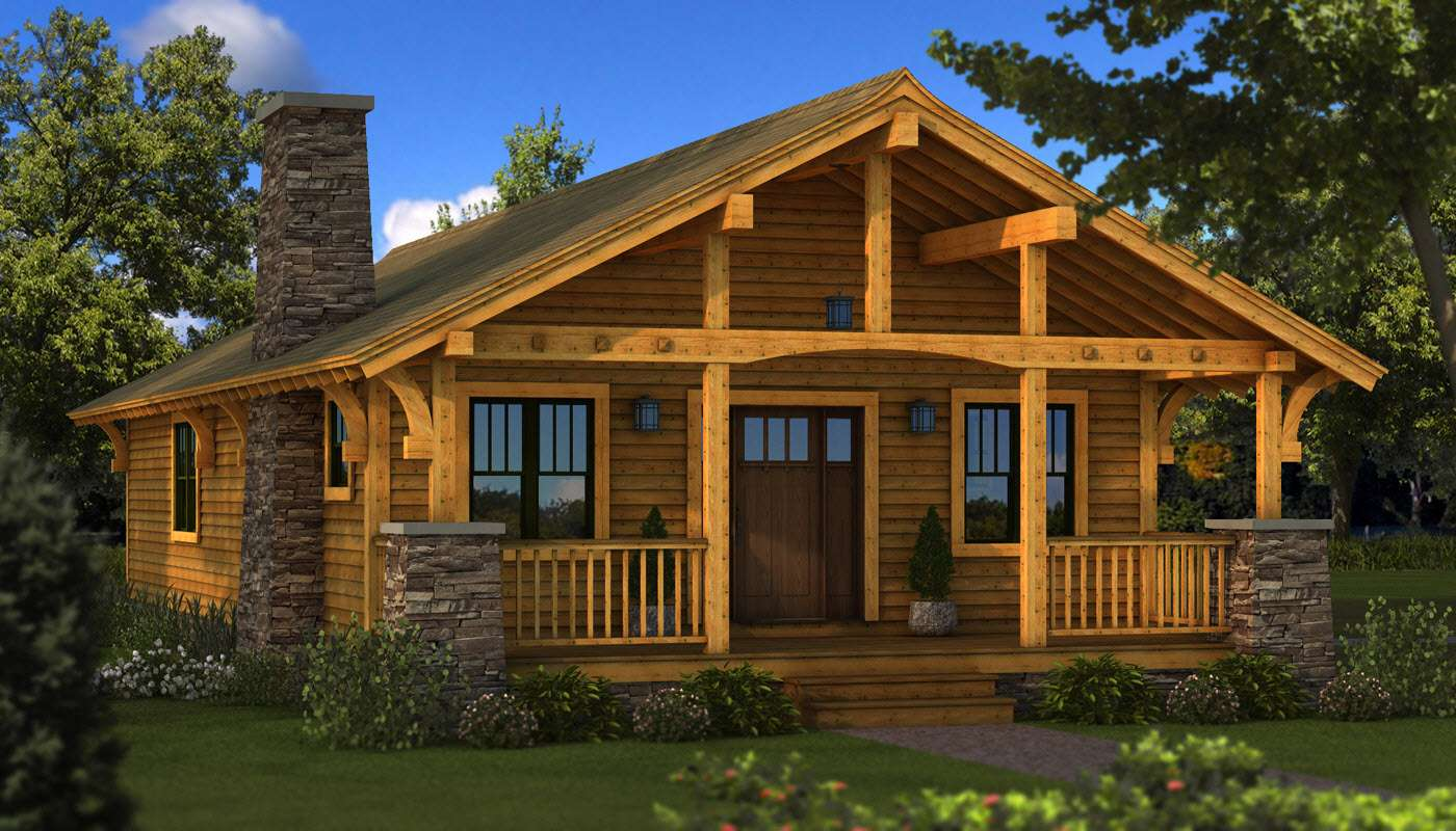 Bungalow Log Home Plan