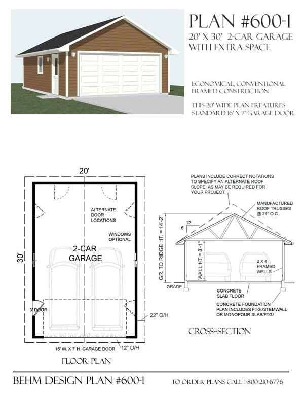Car Garage Plan Behm Design Plans
