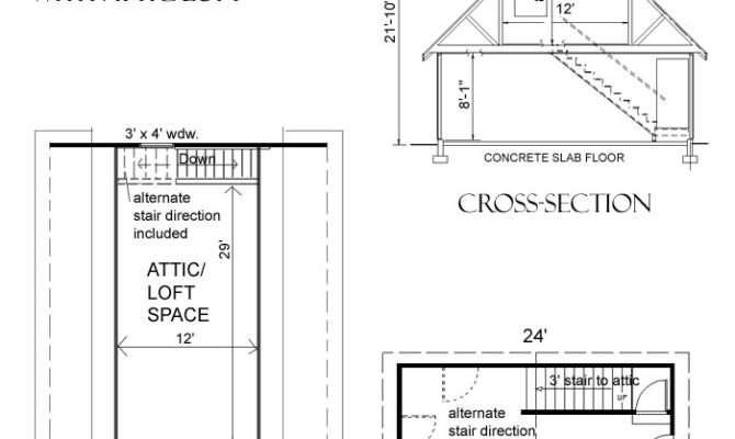 Car Steep Roof Garage Plan Loft