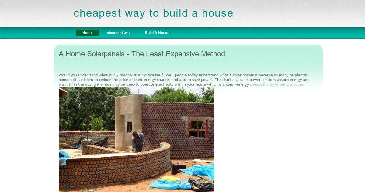 Cheapest Way Build House