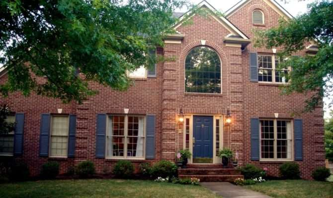 Classic Red Brick House Design Blue Door Ideas Nytexas