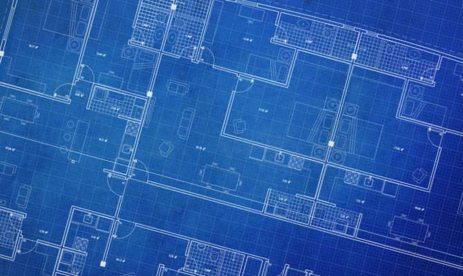 Clean Architecture Floor Plan Blueprint Style
