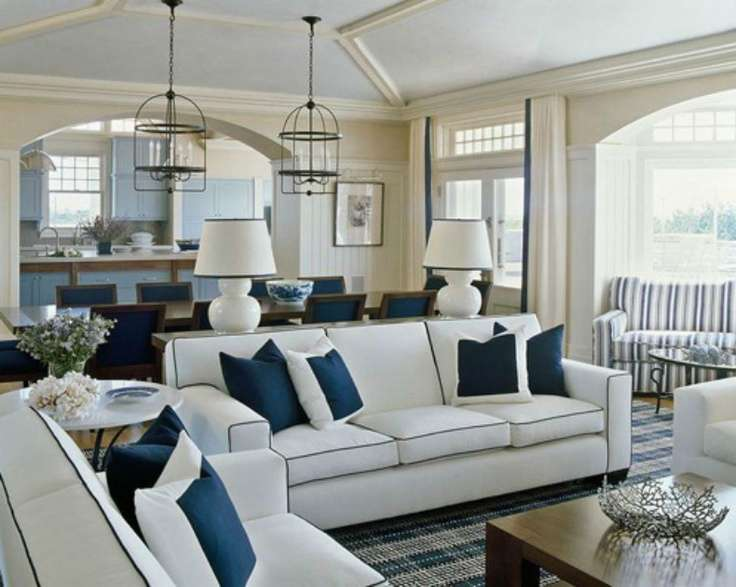 Coastal Shore Creations Navy White Living Rooms