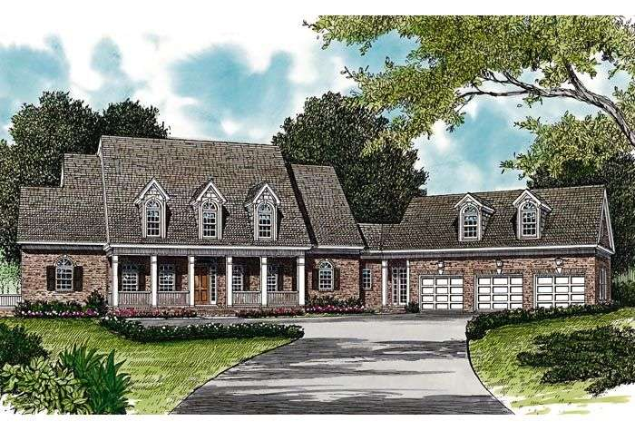 Colonial Cottage Country Farmhouse Hillside Traditional House Plan