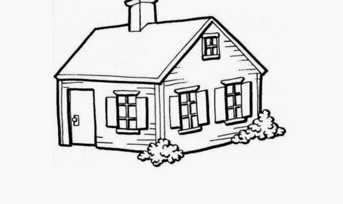 Colour Drawing Small House Coloring Building Plans