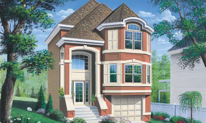 Comstock Narrow Lot Townhouse Plan House Plans More