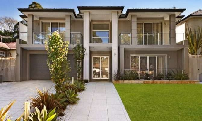 Concrete Modern House Exterior Balcony Feature