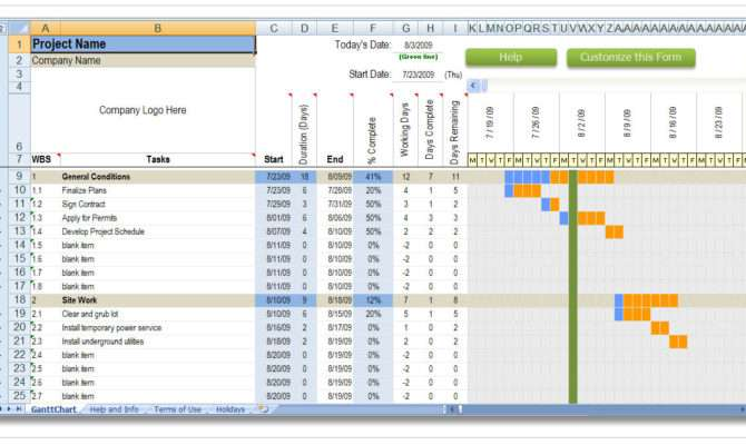 Construction Schedule Template Residential Excel
