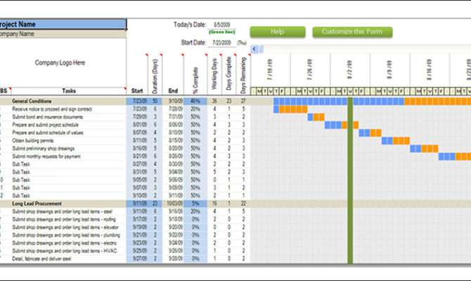 Construction Schedule Templates Word Excel