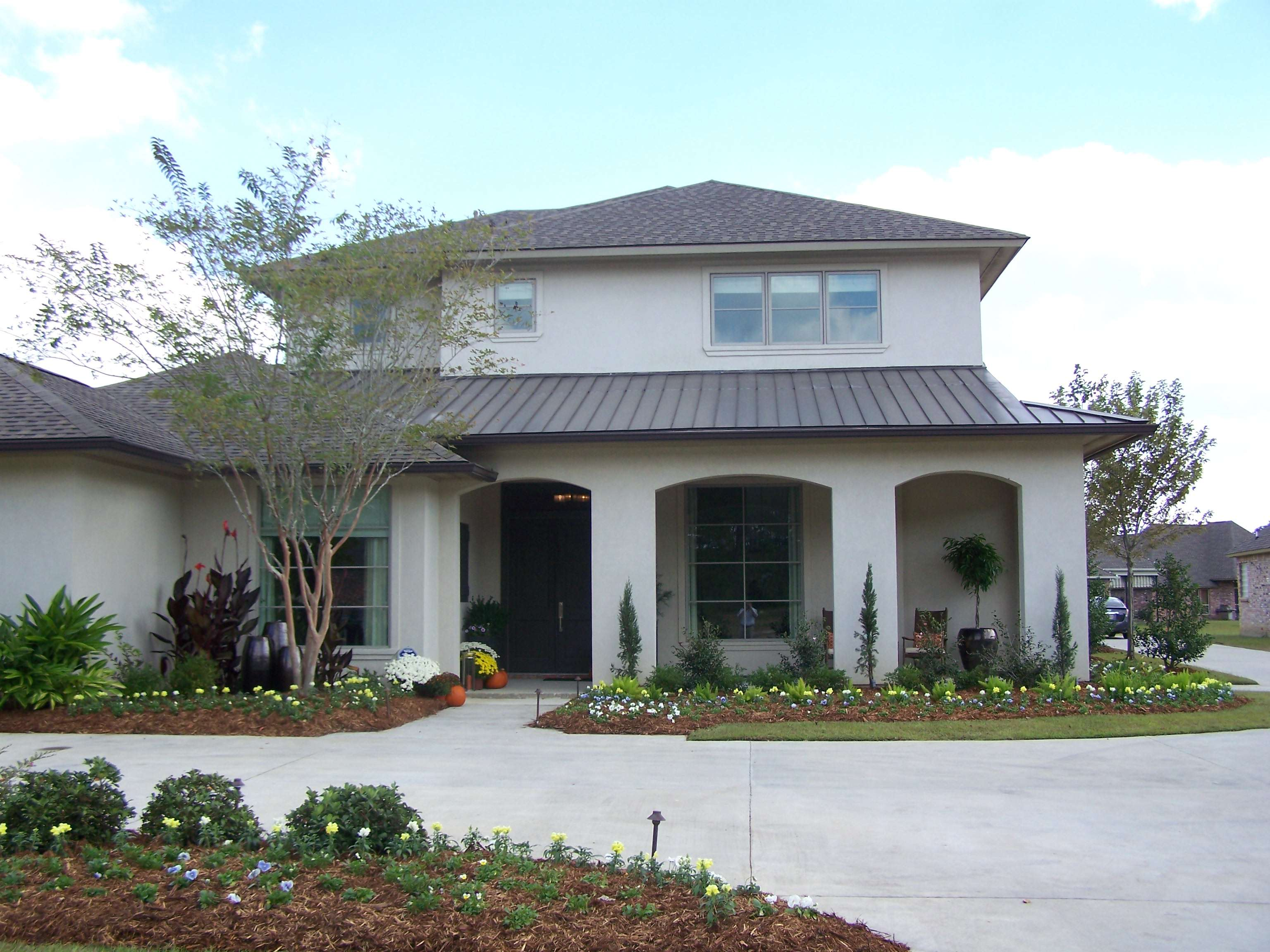Contemporary Front Stucco Columns Homes Pinterest