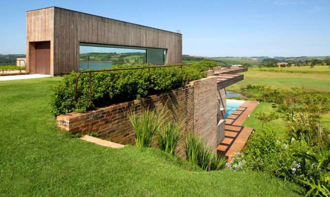 Contemporary Hillside Home Brazil Disappears Into