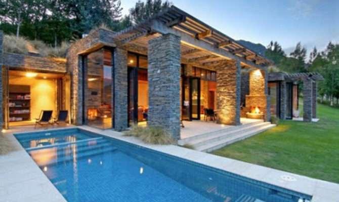 Contemporary Home Exterior Stone House Architecture