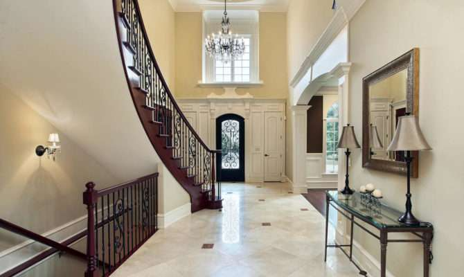 Contemporary Home Foyer Slightly Arched Stairs Leading