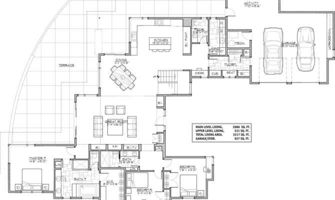 Contemporary House Plan Bedrooms Baths