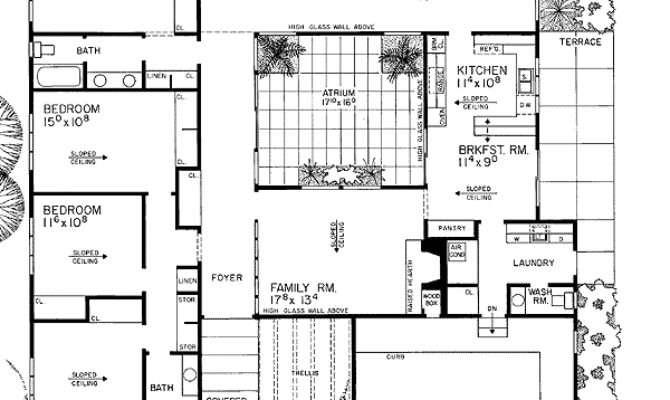 Contemporary House Plan Central Atrium
