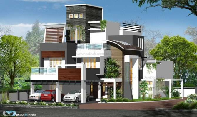 Contemporary Style Elevations Kerala Model Home Plans