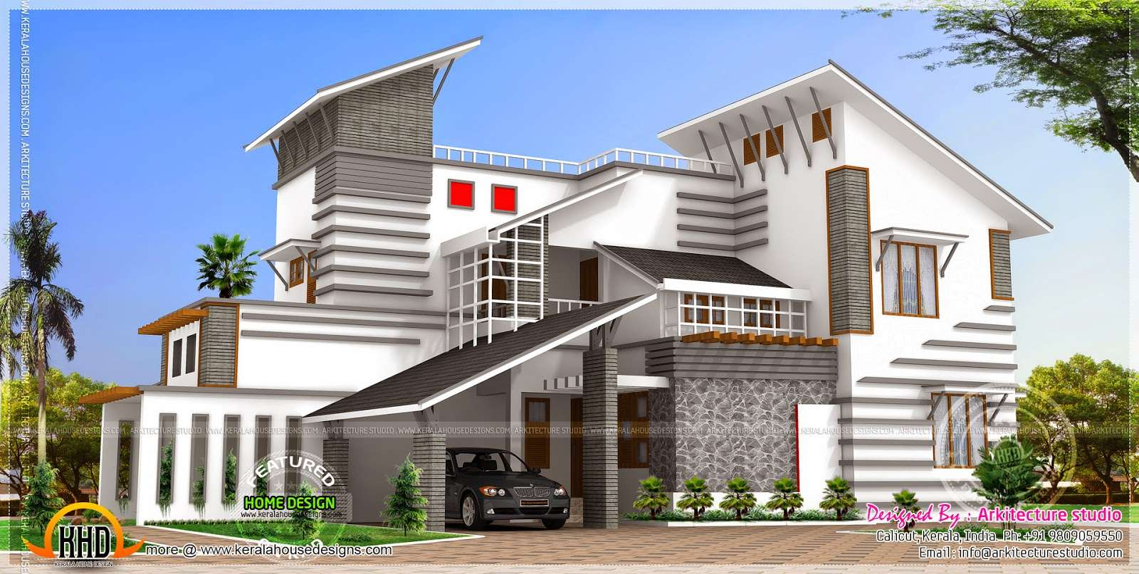 Contemporary Style Unique House Kerala Home Design Floor Plans