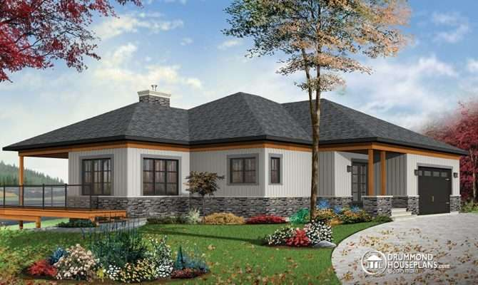 Cottage House Plan Large Covered Terrace Drummond Plans