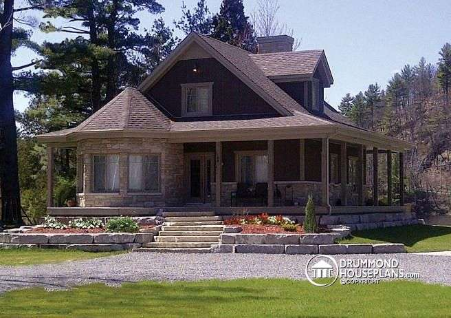 Cottage Wrap Around Porch Open Floor Plan Centralized Fireplace