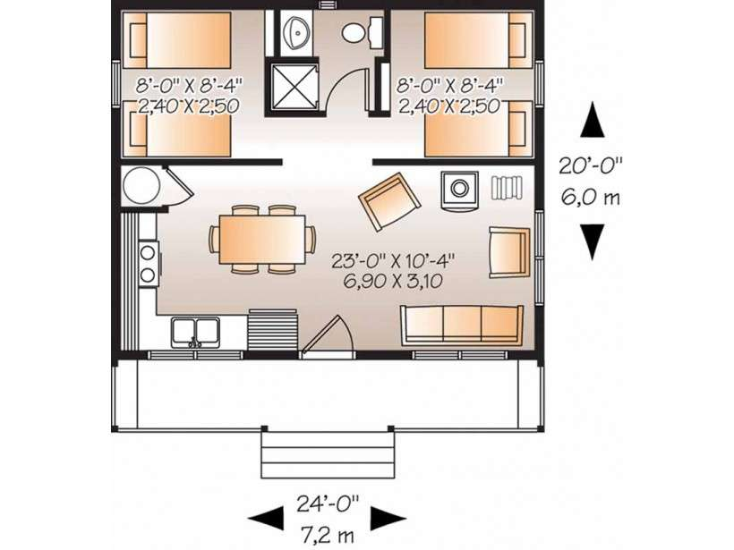 Country House Plan Two Bedroom Square Feet