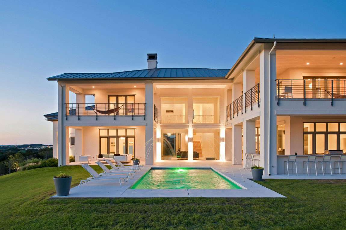 Country Modern House Plans Pool Plan