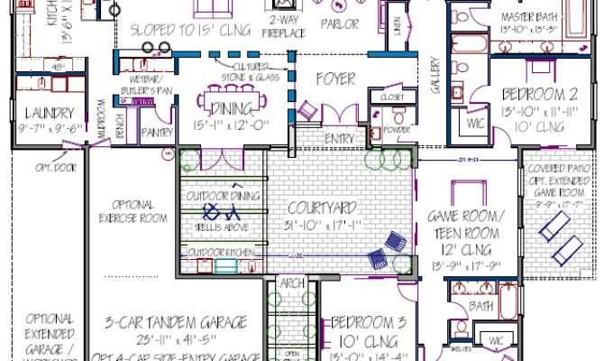 Courtyard House Plan Modern Plans