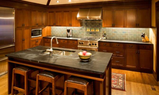 Craftsman Kitchen Soapstone Counters Handmaid Tile Backsplash