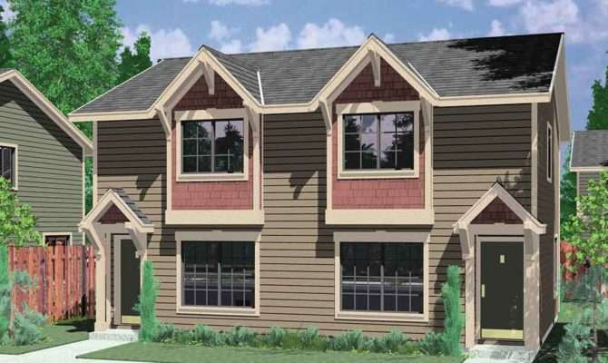 Craftsman Style Duplex Boxed Windows Compact Floor Plan