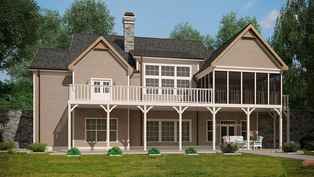 Craftsman Style Lake House Plan Walkout Basement