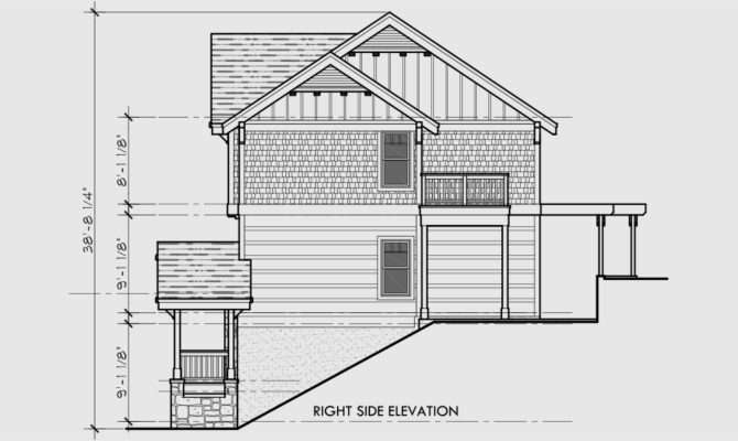 Craftsman Three Level House Plan Sloping Lots