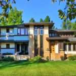 Custom Frank Lloyd Wright Style House Front Elevation