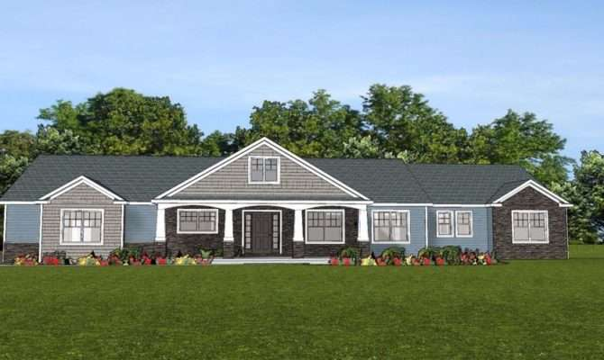 Custom Home House Plan Ranch Basement Car