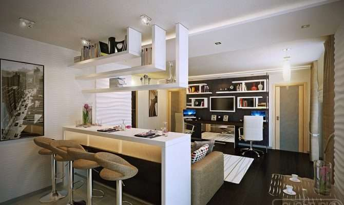 Designs Style White Open Plan Kitchen Lounge Modern