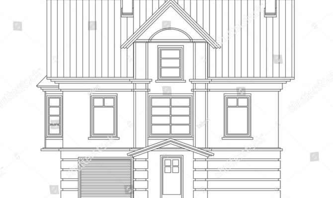 Detailed Drawing Small House Facade Masonry Vector