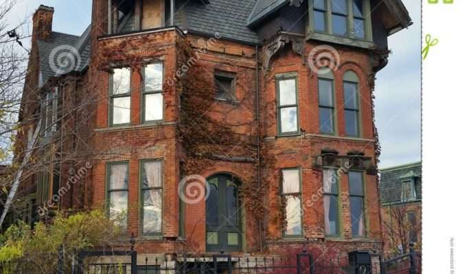 Detroit Old Brick Victorian Home Editorial