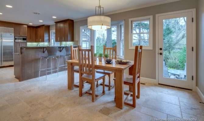 Dining Room Patterned Travertine Tile Floor Envision