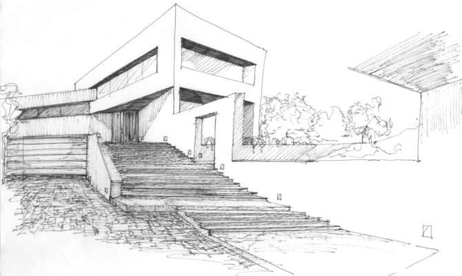 Drawn House Modern Architectural Design Pencil