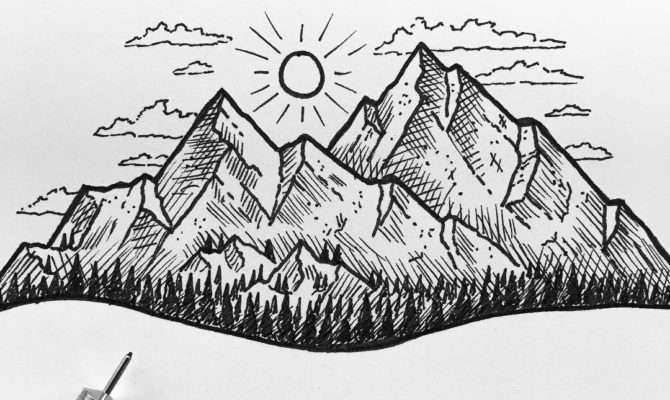 Drawn Mountain Easy Pencil Color