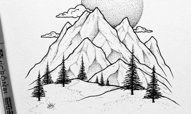 Drawn Mountain Pencil Color