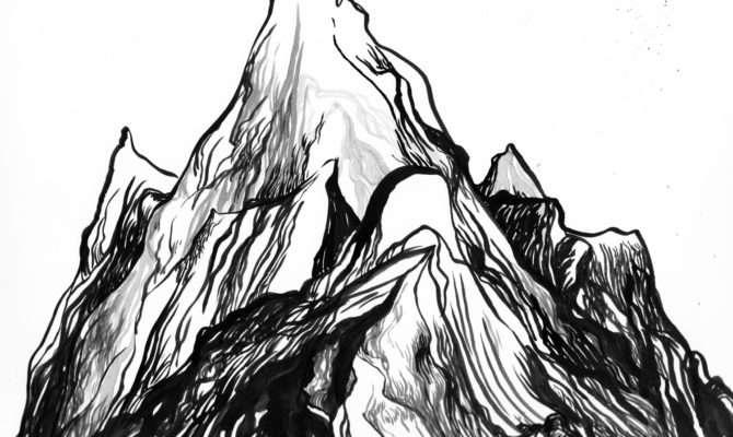 Drawn Mountain Sketch Easy Pencil Color