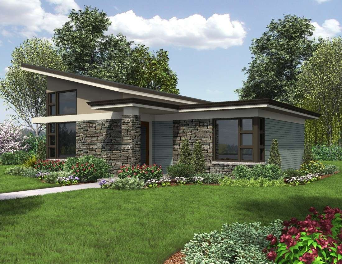Dunland Single Story Contemporary Home Plan Offers Beach Inspired