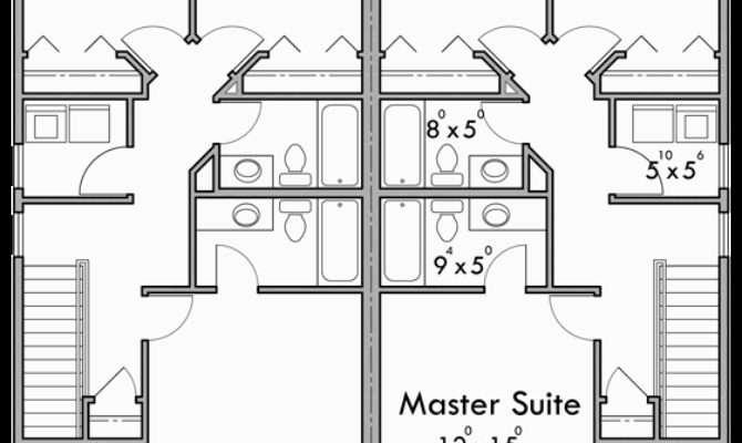 Duplex House Plans Story Bedroom