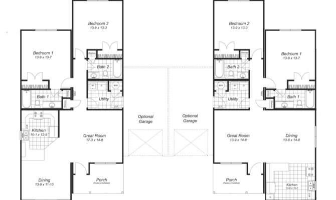 Duplex Plans Garages Outside Joy Studio Design