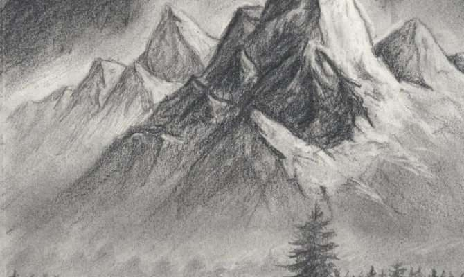 Easy Mountain Landscape Drawing Scene