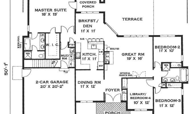 Elegant One Story Home Bedrooms Baths House