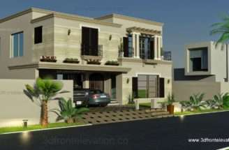 Elevation Kanal Spanish House Design Plan Dha Lahore Pakistan